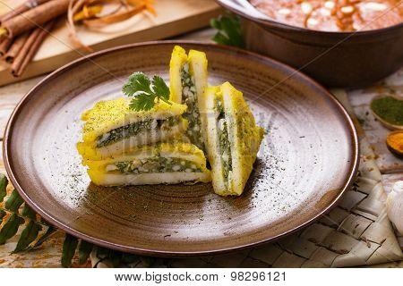 Indian Snack Paneer Pasanda Garnished