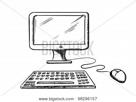 Desktop computer with mouse and keyboard