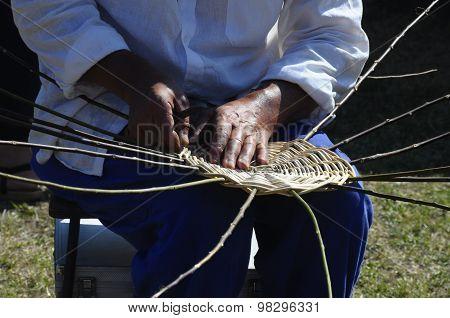 Hands Of Basket-maker Working