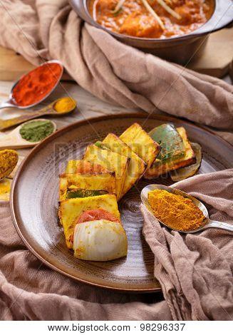 Indian Paneer Tikka Served With Chicken Tikka Masala