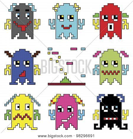 Pixelated robot emoticons 1 shooting spaceship element inspired by 90's computer games showing diffe