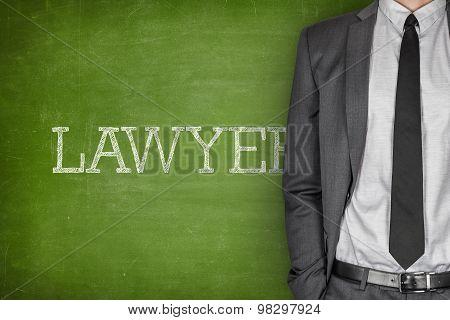 Lawyer on blackboard