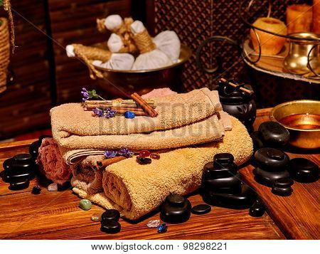 Luxury ayurvedic spa massage still life. Spa resorts in India
