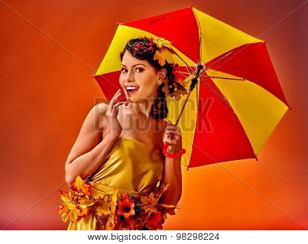 G with autumn hairstyle and umbrella. Autumn woman art