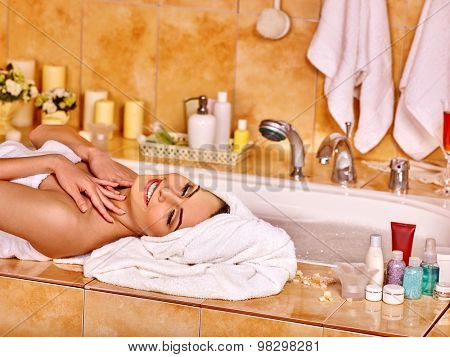 Girl relaxing at home luxury bath. Women take bath