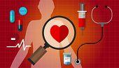 Постер, плакат: heart failurea disease healthy red pulse problem medication