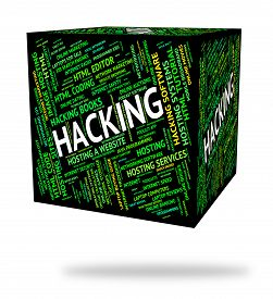 stock photo of spyware  - Hacking Word Showing Spyware Unauthorized And Security - JPG
