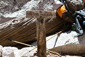 picture of mt whitney  - The Lone Pine Lake Sign near Mt - JPG