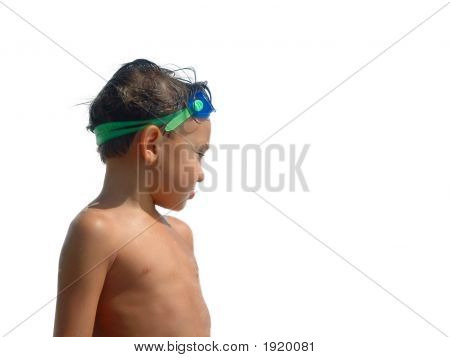 Boy Swimmer With White Background