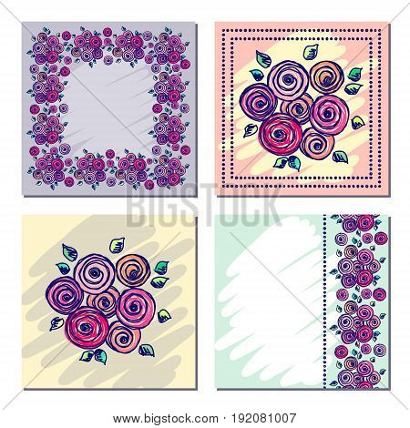 Set vector floral frame card vector photo bigstock greeting cards different template with colorful hand drawn flowers and leaves graphic illustration vector design series of cards blanks and forms m4hsunfo Images