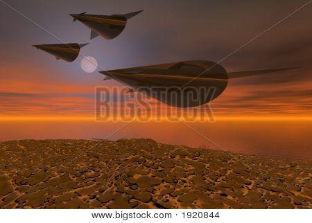 3 Space Ships Hot Night Flight