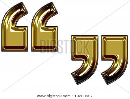 gold quotation marks