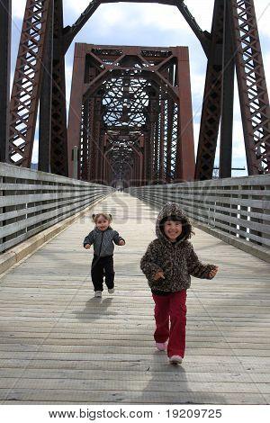 Cute Little Girls Running