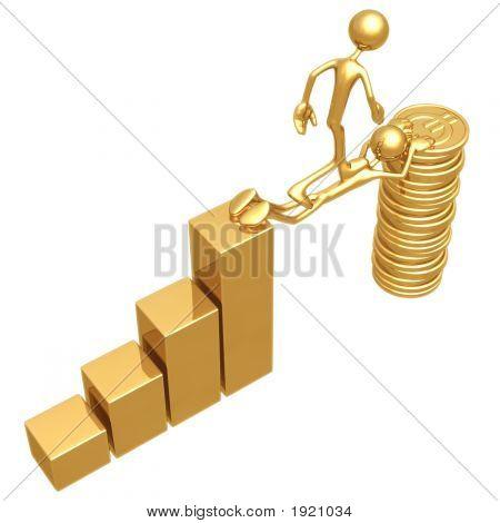 Opfere Brücke zwischen ein Balkendiagramm und eine Goldmünze-stack