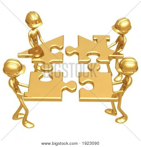 Construction Workers Building Golden Home Puzzle