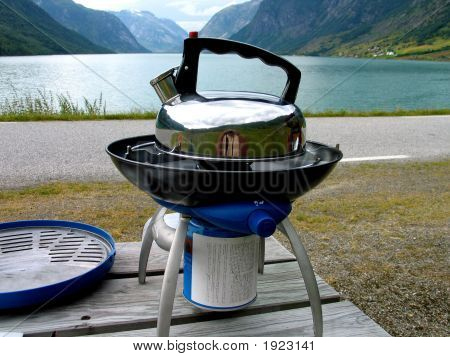 Kettle On A Gas Stove In Camping Norway