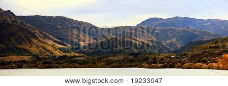 Panorama Of Mountain Alpine Alps Range At Lake Hayes Queenstown