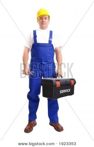 Serviceman With Toolbox And Spanner