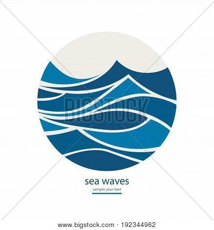 poster of Abstract background with round frame of waves.Water Wave Logo design. Cosmetics Surf Sport Logotype concept.