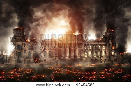 Destroyed Berlin Reichstag building burning with black smoke and flames all around the street. Apoca