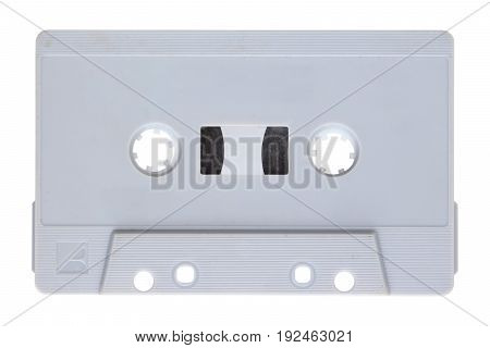 Close up of audio cassette isolated on background