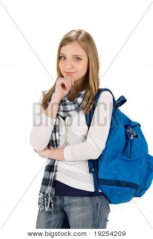 Student Teenager Woman With Schoolbag