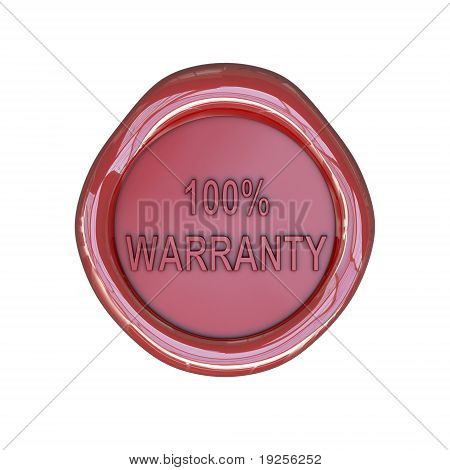 Wax seal with 100 percent warranty text