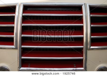 Radiator Grille In Red And Gray