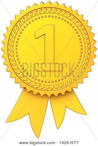 First place winner golden award ribbon
