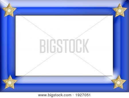 Blue Gloss Frame With Gold Stars