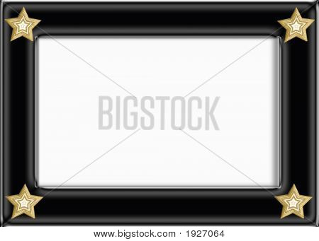 Black Glossy Frame With Gold Stars