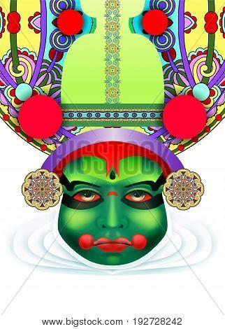 Indian Kathakali Dancer Face Decorative Modern Vector Illustration