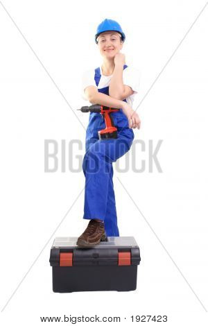 Service Woman With Driller