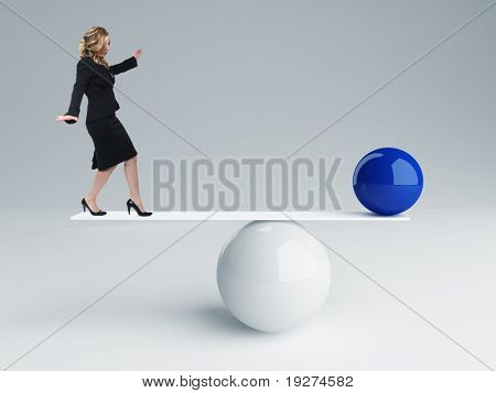 young businesswoman and 3d balance background