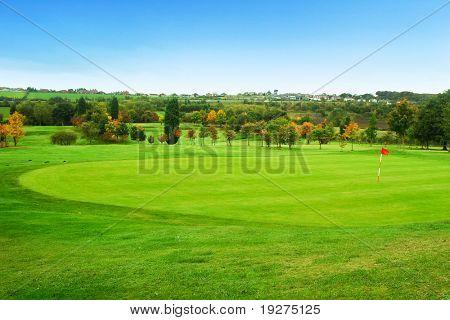 Beautiful landscape with green golf field