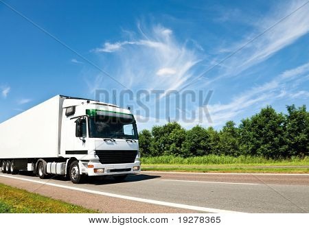 camión blanco en carretera