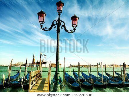 Gondolas on Grand Canal in front of San Giorgio Maggiore church in Venice.
