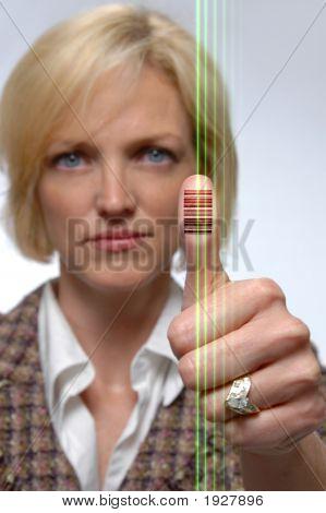 Bar Code Imprinted On Thumb