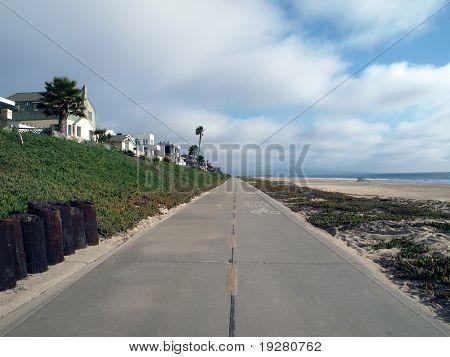 LA beach bike path.  Traffic free weekday travel.