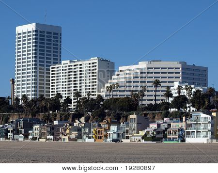 Beach front living at famous Santa Monica beach, California.