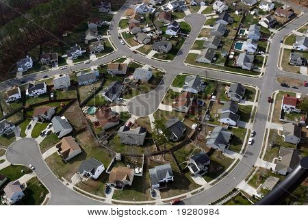 Typical suburban culdesac in the mid atlantic region of the United States.