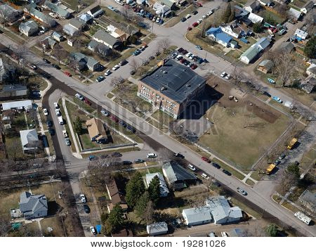 Aerial of a common neighbor in small town USA
