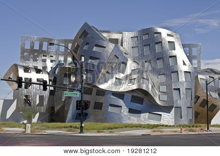 "LAS VEGAS NEVADA - SEPTEMBER 12:  Modernist architect Frank Gehry's new creation ""The Cleveland Clinic Lou Ruvo Center for Brain Health"" shines brightly on Sept. 12, 2010 in Las Vegas Nevada."