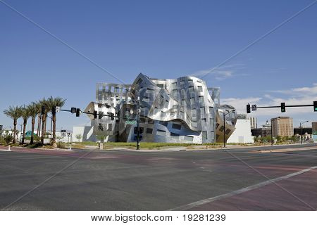 "LAS VEGAS, NEVADA - SEPTEMBER 12:  Modernist architect Frank Gehry's new creation ""The Cleveland Clinic Lou Ruvo Center for Brain Health"" shines brightly on Sept. 12, 2010 in Las Vegas, Nevada."