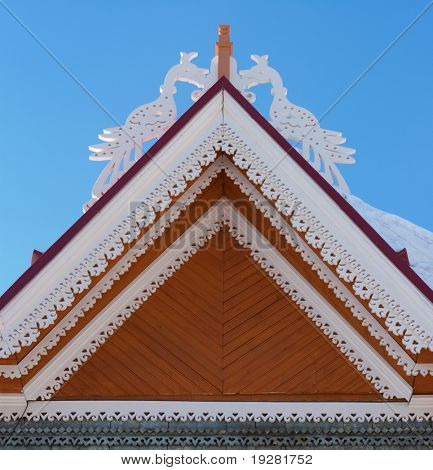 Roof of unique wooden house, Tomsk, Russia