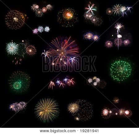 Big collection #2 of 18 real fireworks isolated on black background. Some of them in full size are in my portfolio.