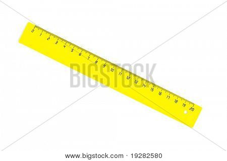 Diagonal yellow twenty centimeters ruler isolated on white