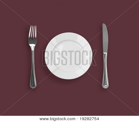 Knife, plate and fork on purple background