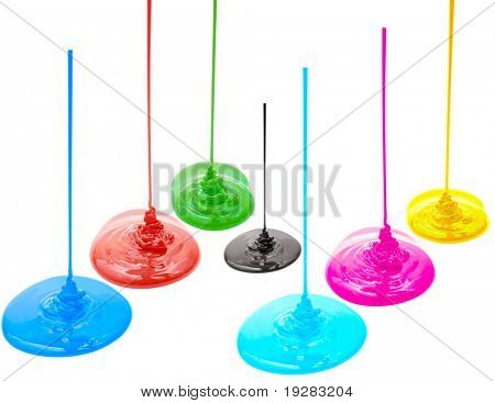 Magenta, cyan, yellow, red, blue, green and black liquid paints isolated