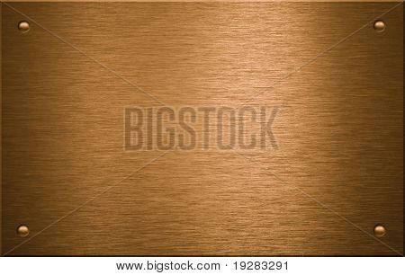 Brass or bronze metal plate with four rivets